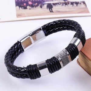 New Braided Black Leather Silver Magnetic Bracelet